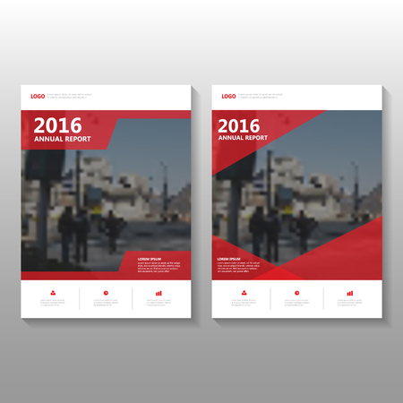 Red Vector annual report Leaflet Brochure Flyer template design, book cover layout design, Abstract Red presentation templates