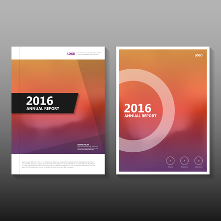 Orange purple Vector annual report Leaflet Brochure Flyer template design, book cover layout design, Abstract Red presentation templates