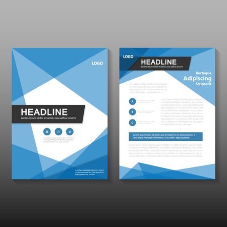 Triangle Blue Vector Annual Report Leaflet Brochure Flyer Template Design,  Book Cover Layout Design,