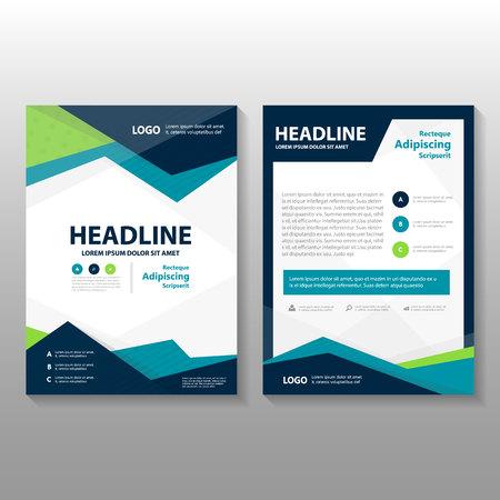 Trójkąt niebieski zielony fioletowy wektor roczny raport Ulotka Ulotka broszura szablon, projektowanie książka układ okładki, streszczenie kolorowe szablony prezentacji Ilustracje wektorowe