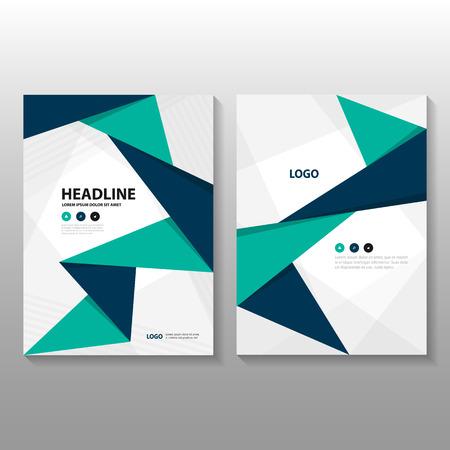 三角形緑青いベクトル年次報告書チラシ パンフレット フライヤー テンプレート デザイン、装丁レイアウト、抽象緑青いプレゼンテーション テンプ