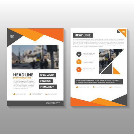 magazine design: Orange Vector annual report Leaflet Brochure Flyer template design, book cover layout design, Abstract Orange red black presentation templates Illustration