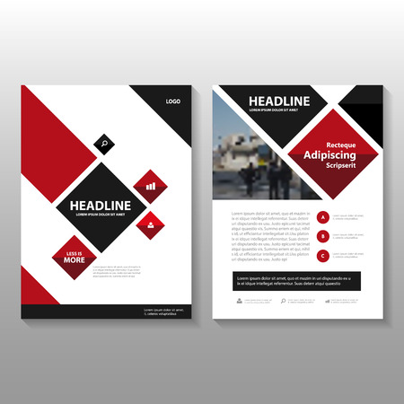 레드 블랙 광장 벡터 연례 보고서 팜플렛 브로셔 전단 템플릿 디자인, 책 표지 레이아웃 디자인, 추상 빨간색 검은 색 프리젠 테이션 템플릿 일러스트