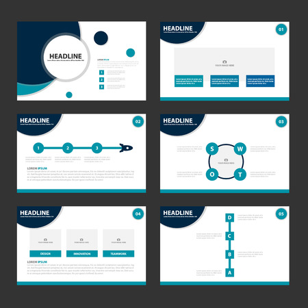 Circle Blue presentatiesjablonen Infographic elementen plat ontwerp set voor brochure flyer folder marketing reclame