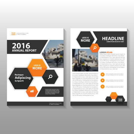 Orange black hexagon Vector annual report Leaflet Brochure Flyer template design, book cover layout design, Abstract orange presentation templates Vettoriali