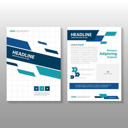 simple blue vector annual report leaflet brochure flyer template