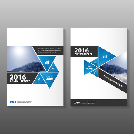 magazine layout: Triangle Blue Black annual report Leaflet Brochure template design, book cover layout design, Abstract blue presentation templates