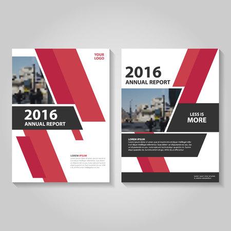 赤黒年次報告書リーフレット パンフレット テンプレート デザイン、装丁レイアウト、抽象的な赤黒プレゼンテーション テンプレート