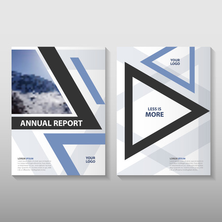 page layout: Triangle Blue annual report Leaflet Brochure template design, book cover layout design, Abstract blue presentation templates