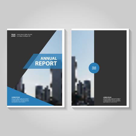 ブルー ブラック年次報告書リーフレット パンフレット テンプレート デザイン、装丁レイアウト、抽象的な青いプレゼンテーション テンプレート