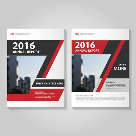 優雅な赤黒年次報告書リーフレット パンフレット テンプレート デザイン、装丁レイアウト、抽象的な赤黒プレゼンテーション テンプレート