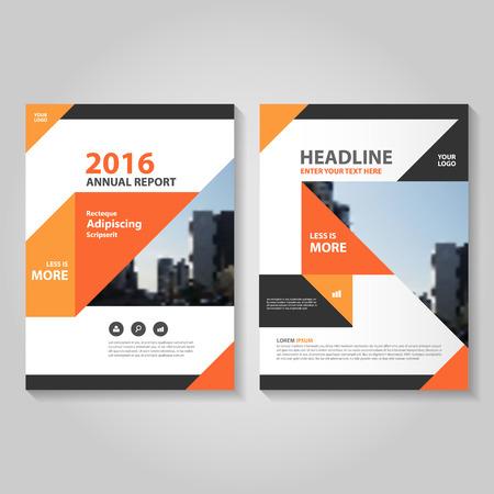 magazine template: Elegance triangle orange black annual report Leaflet Brochure template design, book cover layout design, Abstract orange black presentation templates