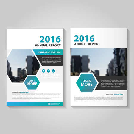 Hexagon Blue annual report Leaflet Brochure template design, book cover layout design, Abstract Hexagon blue presentation templates