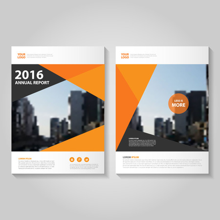 cover: Orange black polygon annual report Leaflet Brochure template design, book cover layout design, Abstract orange presentation templates