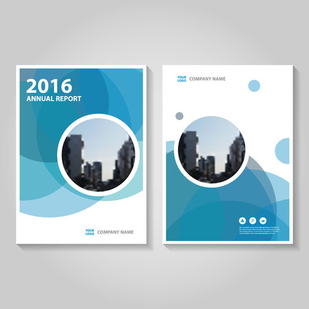 Cercle polygone bleu rapport annuel Dépliant Brochure conception de modèle, conception couverture du livre de mise en page, Résumé des modèles de présentation bleu