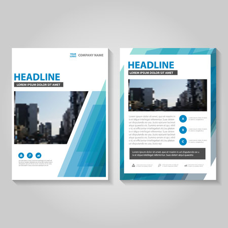layout: Abstract blue annual report Leaflet Brochure template design, book cover layout design, Abstract blue presentation templates