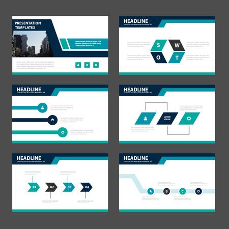 Blue Green presentatiesjablonen Infographic elementen plat ontwerp vastgesteld voor brochure folder marketing reclame
