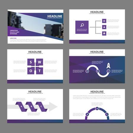 Purple presentation templates Infographic elements flat design set for brochure leaflet marketing advertising Vectores