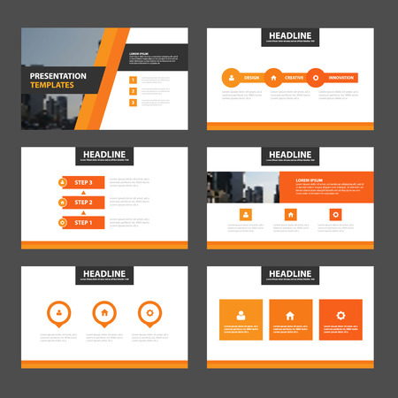 magazine layout: Orange presentation templates Infographic elements flat design set for brochure leaflet marketing advertising