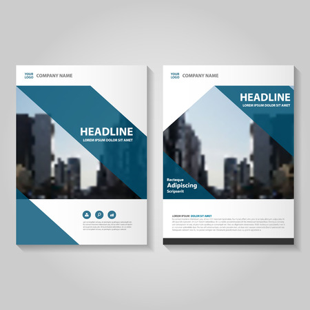 Blue annual report Leaflet Brochure template design, book cover layout design, Abstract blue presentation templates Illustration