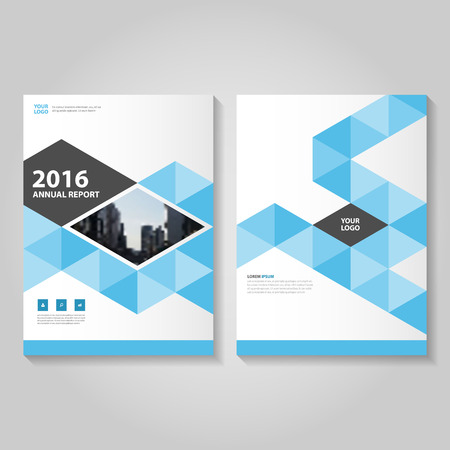 annual report: Triangle blue Vector annual report Leaflet Brochure Flyer template design, book cover layout design, Abstract blue presentation templates