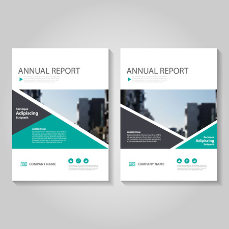 blank magazine: Green black triangle  Vector annual report Leaflet Brochure Flyer template design, book cover layout design, Abstract blue presentation templates