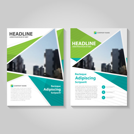 Green triangle  Vector annual report Leaflet Brochure Flyer template design, book cover layout design, Abstract green presentation templates