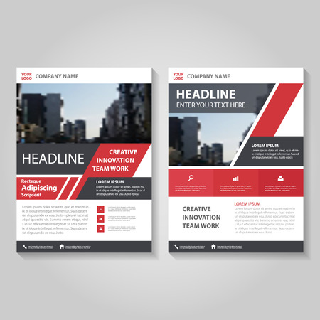 Red black annual report Leaflet Brochure Flyer template design, book cover layout design, Abstract red presentation templates