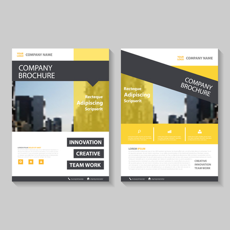 Yellow black annual report Leaflet Brochure Flyer template design, book cover layout design, Abstract yellow black presentation templates Vector Illustration