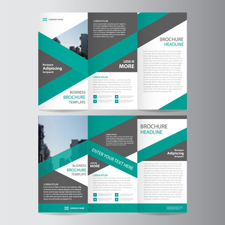 Green trifold annual report Leaflet Brochure Flyer template design, Abstract layout templates