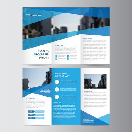 Blue trifold annual report Leaflet Brochure Flyer template design, Abstract blue layout templates