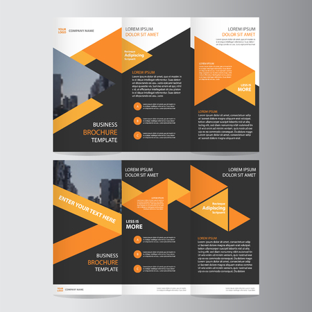 Triangle orange black trifold annual report Leaflet Brochure Flyer template design, Abstract orange layout templates Vectores