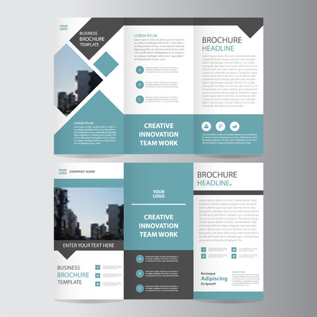 Blue black elegance business trifold business Leaflet Brochure Flyer template vector minimal flat design set