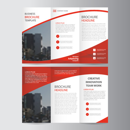 Red elegance business trifold business Leaflet Brochure Flyer template vector minimal flat design set