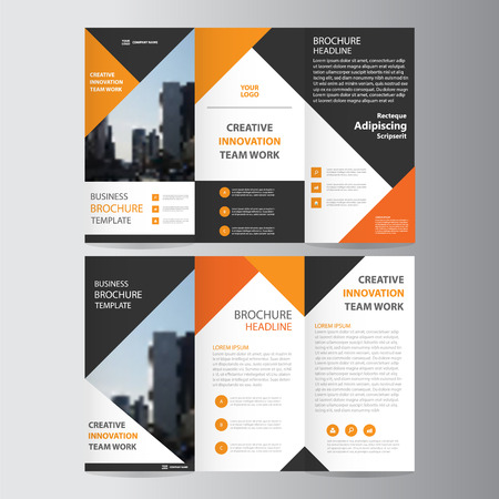 Orange black triangle elegance business trifold business Leaflet Brochure Flyer template vector minimal flat design set Illusztráció