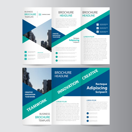 Blue green triangle elegance business trifold business Leaflet Brochure Flyer template vector minimal flat design set