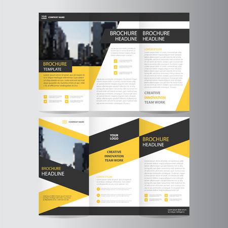 amarillo y negro: Amarillo negro triángulo elegancia tríptico negocio negocio Folleto Folleto Flyer plantilla de conjunto de vectores diseño plano mínima