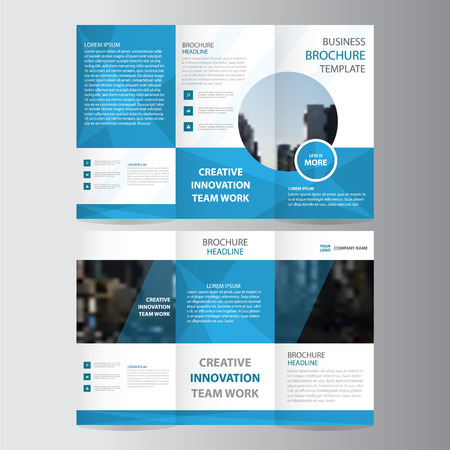 青いエレガンス ビジネス トリフォールド ビジネス チラシ パンフレット フライヤー テンプレート ベクトル最小フラット デザイン セット