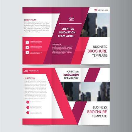 Pink purple elegance business trifold business Leaflet Brochure Flyer template vector minimal flat design set Ilustração