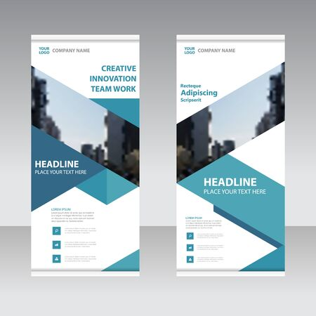 set up: Blue Business Roll Up Banner flat design template ,Abstract Geometric banner Vector illustration set