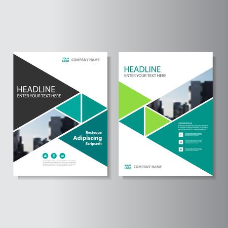 Groene driehoek Vector jaarverslag Leaflet Brochure Flyer sjabloon ontwerp, boekomslag lay-out ontwerp, Abstracte groene presentatie templates