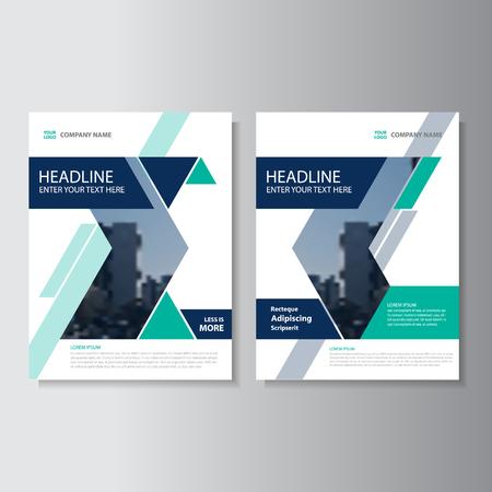 Bleu triangle vert vecteur rapport annuel Dépliant Brochure Flyer conception de modèle, conception couverture du livre de mise en page, Résumé bleu modèles de présentation vert