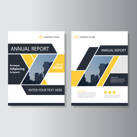 Yelow black Vector annual report Leaflet Brochure Flyer template design, book cover layout design, Abstract yellow presentation templates
