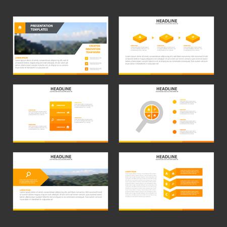 Oranje Infographic elementen presentatiesjabloon plat ontwerp set voor brochure flyer leaflet Stock Illustratie