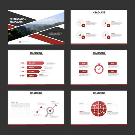 레드 블랙 Infographic 요소 프레 젠 테이 션 템플릿 플랫 디자인 브로셔 전단지 전단지에 대 한 설정 일러스트