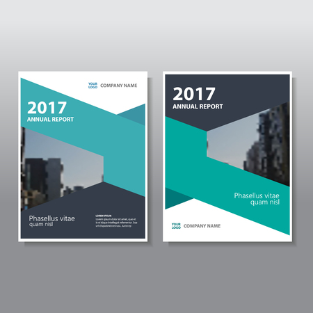 Green black geometric style annual report Leaflet Brochure template design, book cover layout design