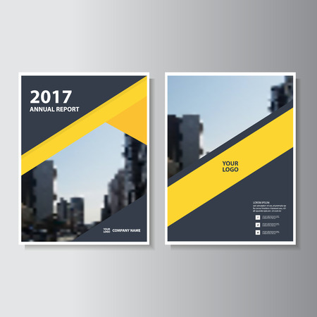 book design: Yellow black geometric style annual report Leaflet Brochure template design, book cover layout design
