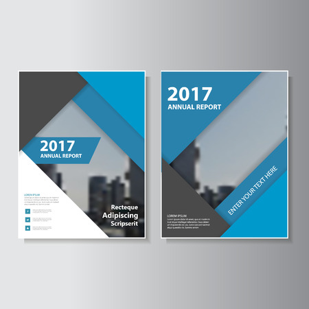 Blue annual report Leaflet Brochure template design, book cover layout design