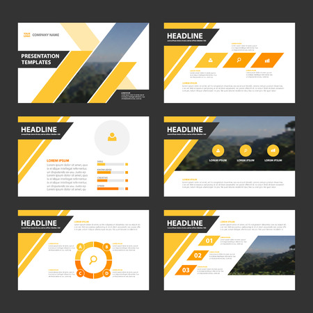 Yellow black Presentation annual report Leaflet Brochure template design, book cover layout design 矢量图像