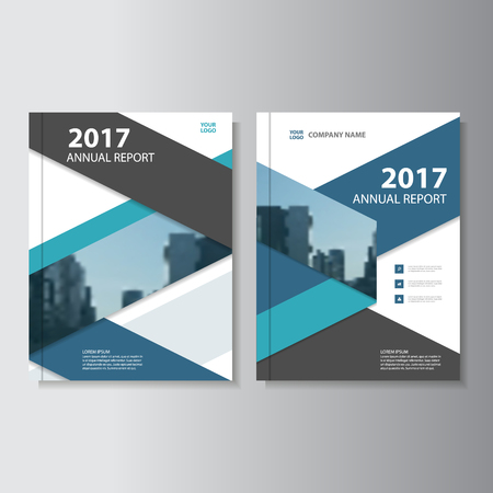 cover: Blue annual report Leaflet Brochure template design, book cover layout design